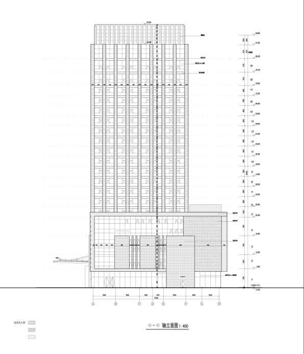 [重庆]高层知名玻璃幕墙酒店建筑立面设计施工图(含效果图)-高层知名玻璃幕墙酒店建筑立面图