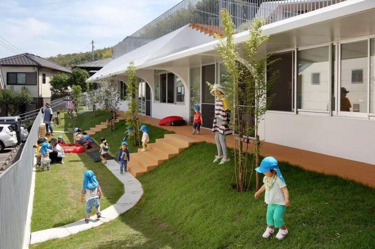 """日本""""斜坡地形""""的幼儿园,创造了各种自然形状的空间。"""