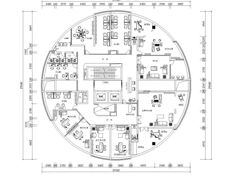 [江西]南昌國際金融中心辦公室裝修設計施工圖+效果圖
