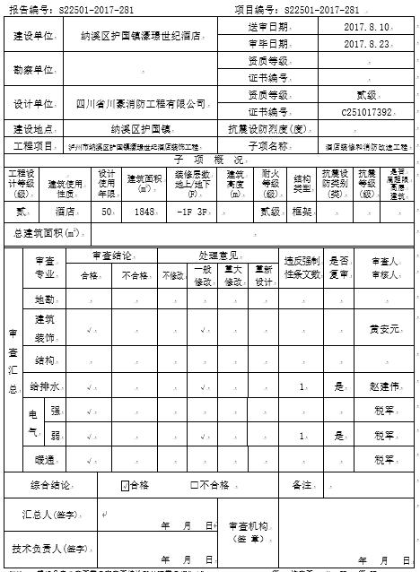 酒店装饰工程施工图设计文件审查报告(word,11页)