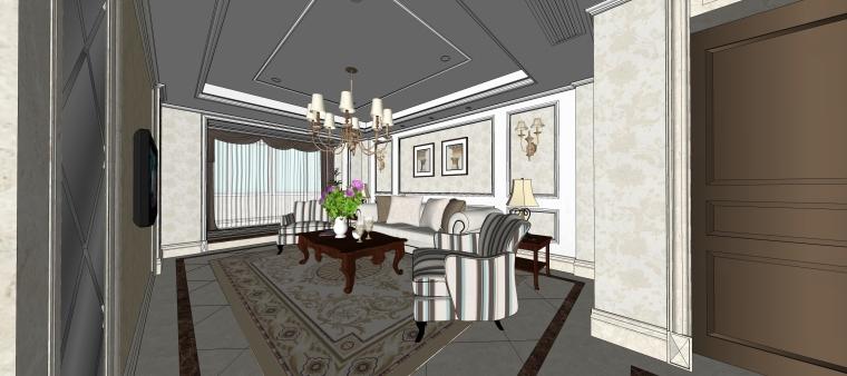 室内设计简欧风格客餐厅SU模型-06.客厅