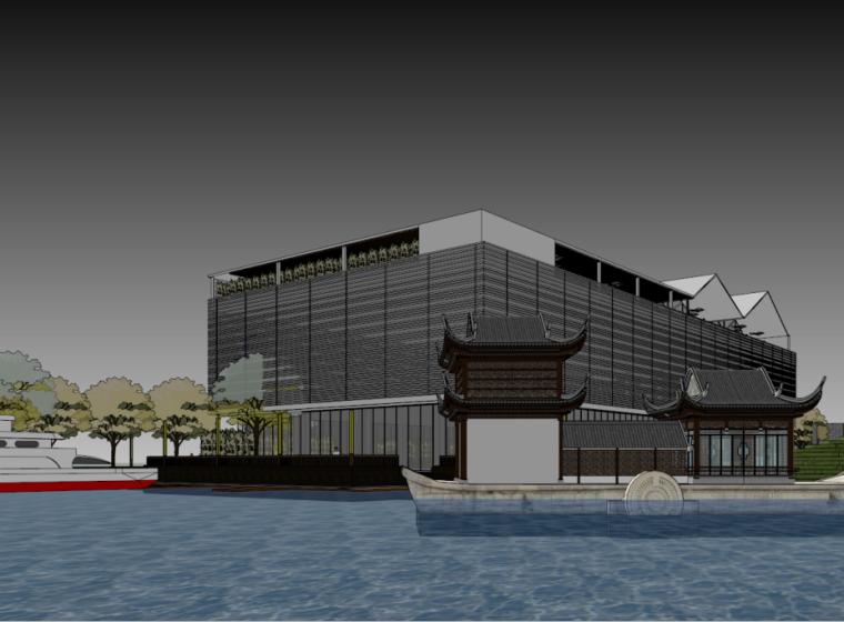 会所景观建筑模型设计