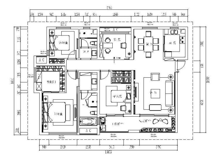 [上海]新中式风格三居室设计施工图