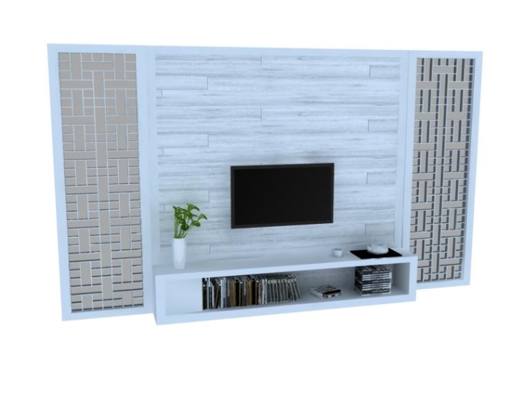 现代中式电视墙3D模型下载