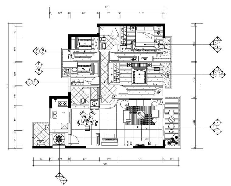 简欧风紧凑型四居室施工图设计(附效果图)