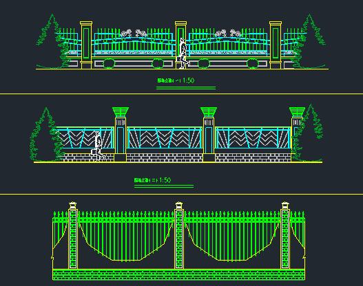 围墙铁艺栏杆方案CAD图_10