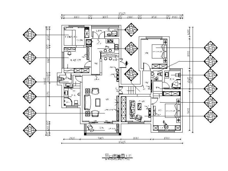 [贵州]地中海田园风格样板房设计CAD施工图(含效果图)