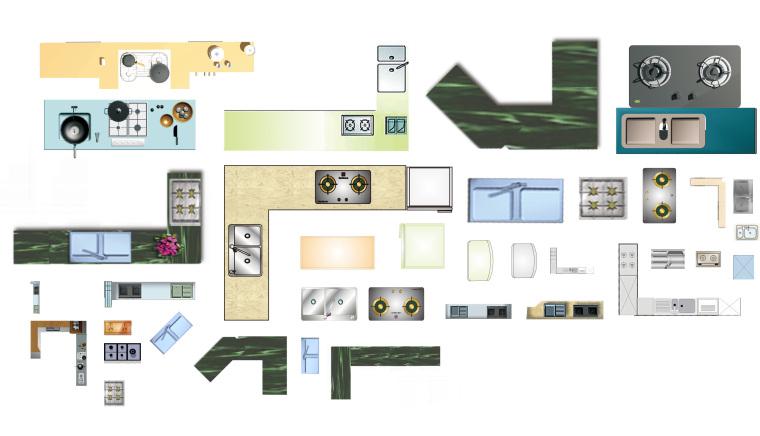 室内设计常用PSD彩色平面图块—厨房设施中式家具PSD图块