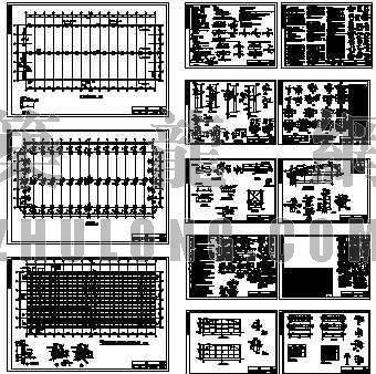 钢结构厂房结构图(砼柱-双弧钢管桁架)