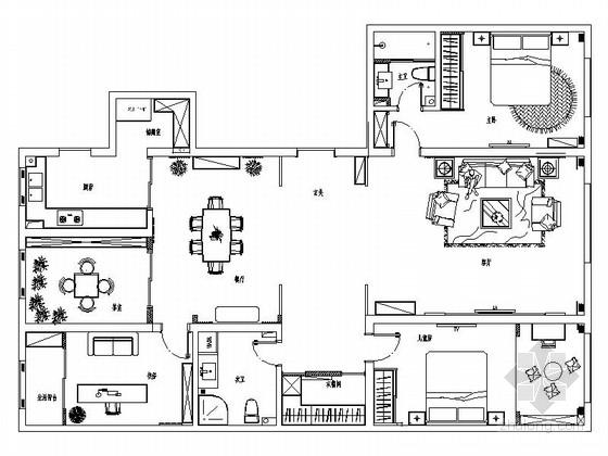 雅致空间新中式风格三居室样板间CAD装修施工图(含效果)