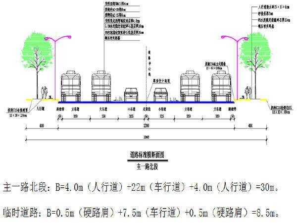 [重庆]路幅宽30米生态工业园道路工程施工图设计91张CAD(含给排水,电气照明)