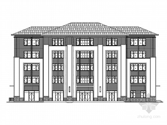 [天津]五层框架结构块瓦屋面社区中心建筑施工图