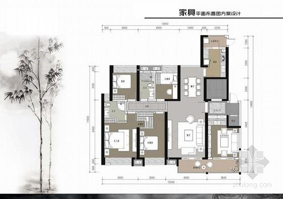 [浙江]156平新中式风格四居室室内装修设计方案