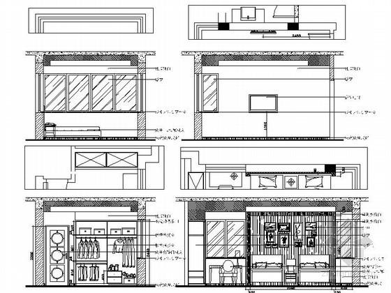 现代中式风格别墅客房立面图