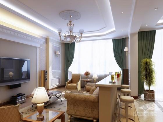 欧式现代客厅3D模型下载