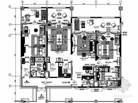 [云南]东南亚特色度假酒店豪华套房施工图(含效果图)