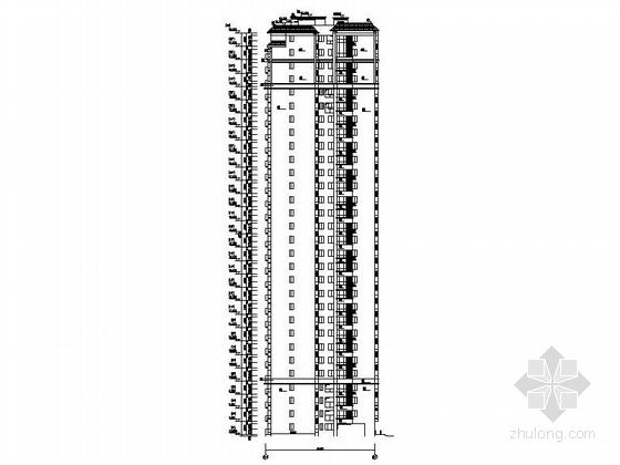 [贵州]高层框剪结构面砖外墙商用住宅建筑施工图(含多套方案)-高层框剪结构面砖外墙商用住宅建筑立面图