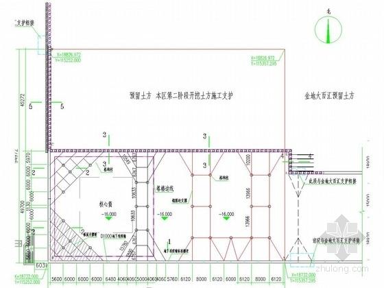 [广东]22.6米深基坑地下连续墙加四道混凝土支撑支护施工图(含逆作基坑桩锚支护)
