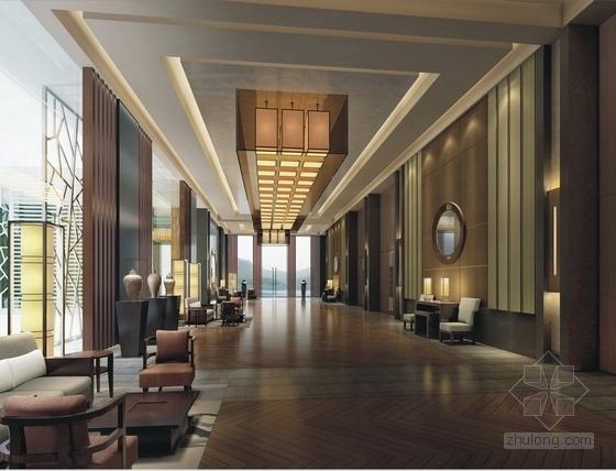 [苏州]现代苏式风格会议酒店设计装饰方案图宴会前厅效果图