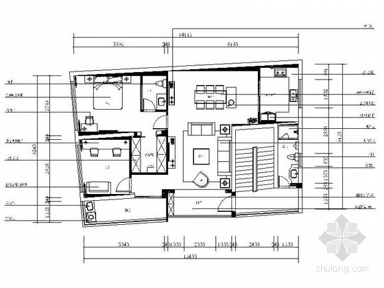[福建]自建房区现代简约风格两室两厅装修施工图(含软装方案)