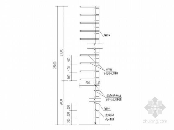 放水塔检修梯维修带护笼直爬梯详图