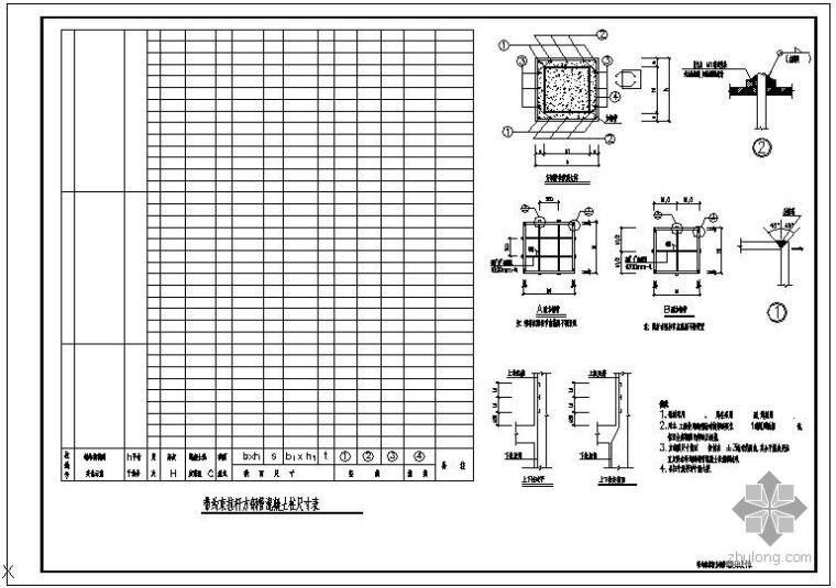 某带约束拉杆异形钢管混凝土柱大样及柱表节点构造详图