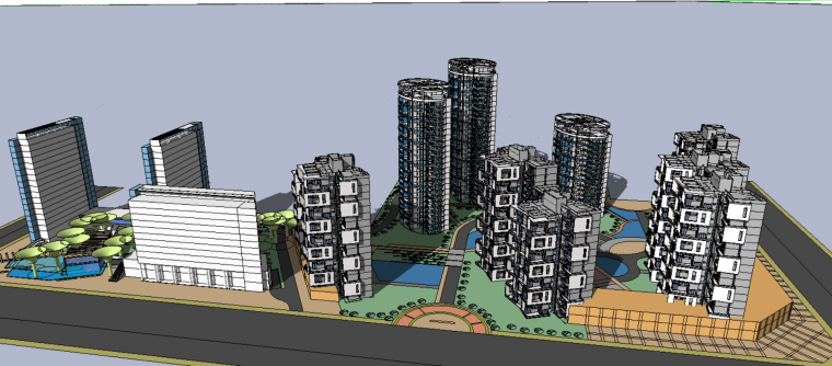 居住小区建筑设计方案(su模型)