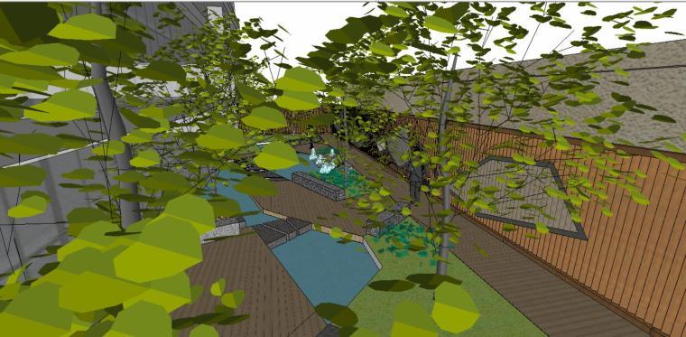 小庭院景观SU模型