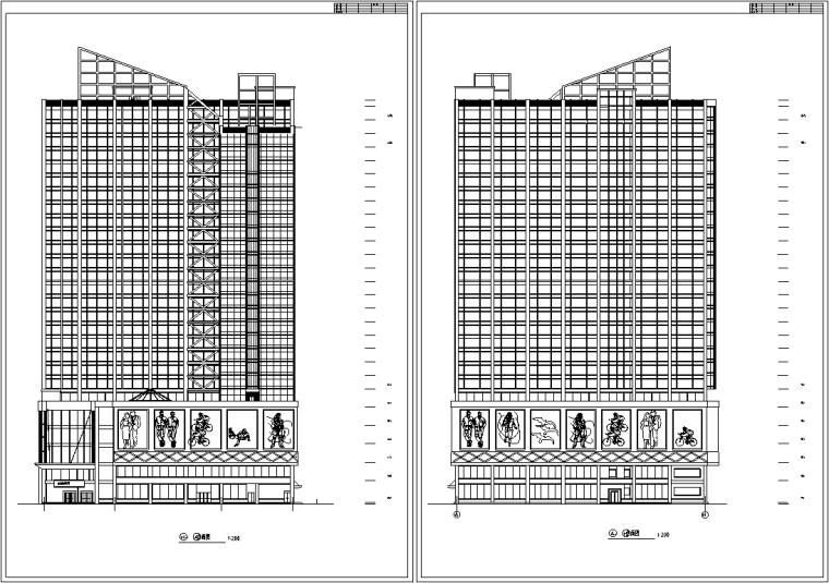3套商住综合楼建筑设计施工图CAD-现代高层商住综合楼建筑设计立面图2