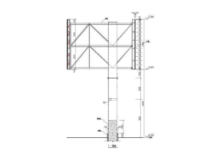 600平米3面LED显示屏钢结构施工图