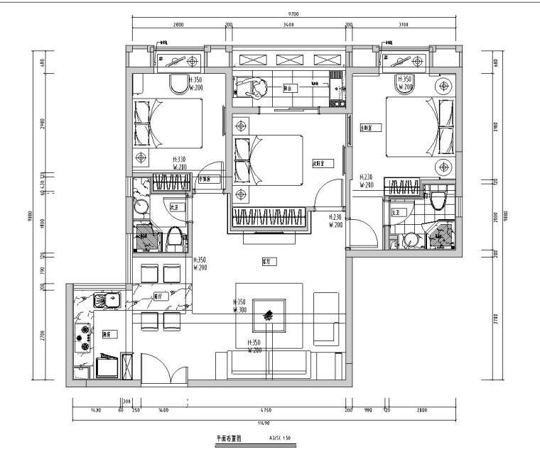 凯隆地产现代风格样板房室内施工图设计(CAD+实景图)