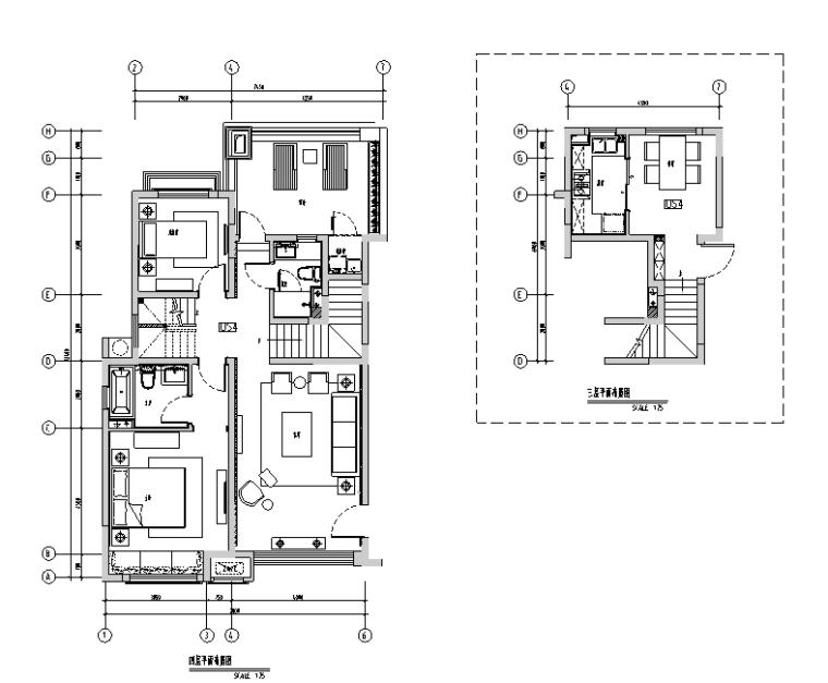 [上海]绿地启东三期DS4户型样板间设计施工图(附效果图+物料)