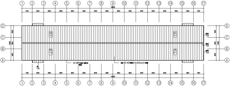 安徽连跨刚架钢结构工程施工图(CAD,14张)