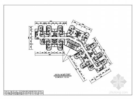 高层住宅一梯十二户标准层平面图(139、45平方米)