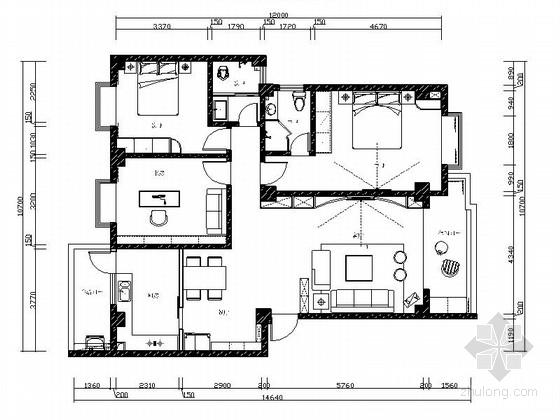 [毕业设计]现代简约时尚三居室室内施工图(含效果模型)