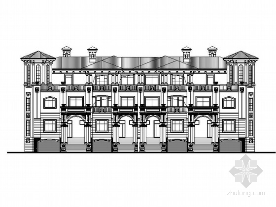 [四川]三层庄园式风格联排式别墅建筑施工图(含效果图)