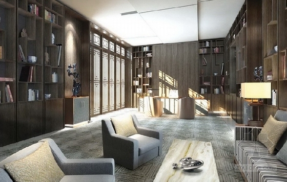 [广东]豪华温泉庭院别墅室内装修设计方案书房效果图