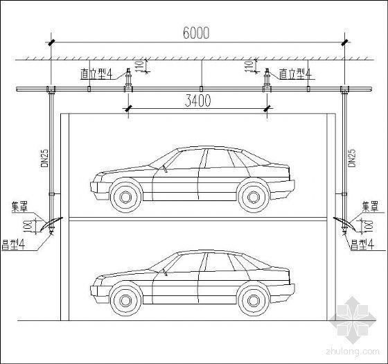 复式停车位喷头安装示意图