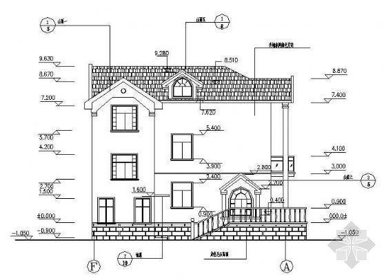 某三层独立别墅成套建筑结构图纸(含电施水施)