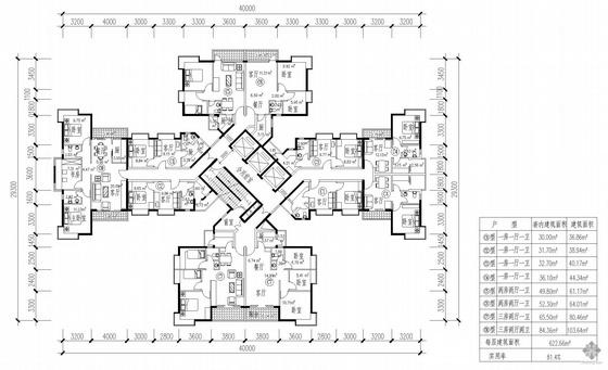 塔式高层一梯十一户户型图