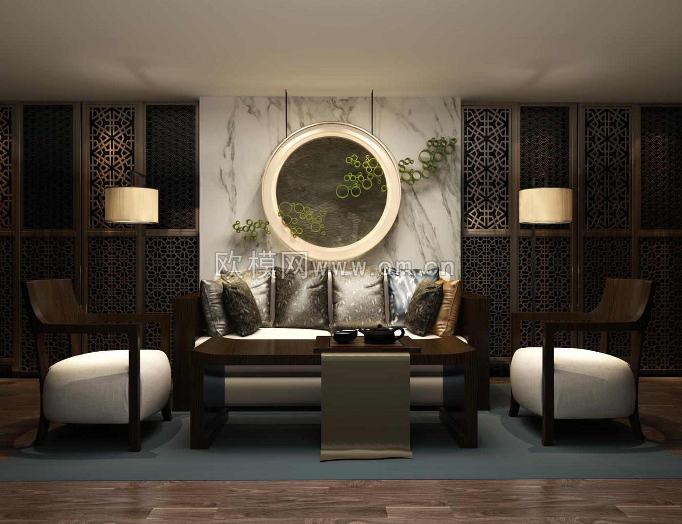 [分享]现代中式实木沙发组合图片