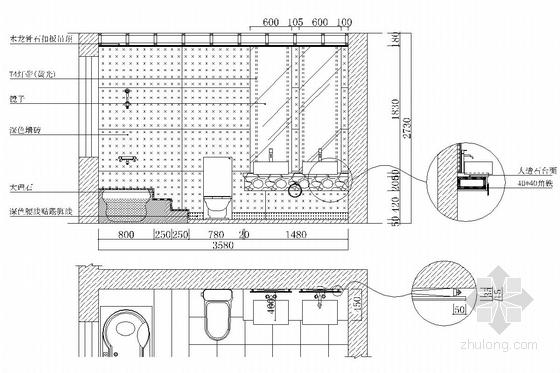 典雅中式二层别墅室内装修施工图(含效果图)卫生间立面图