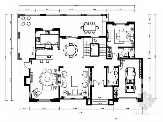 [香港]国际大都市现代法式两层别墅样板间装修施工图(含效果)