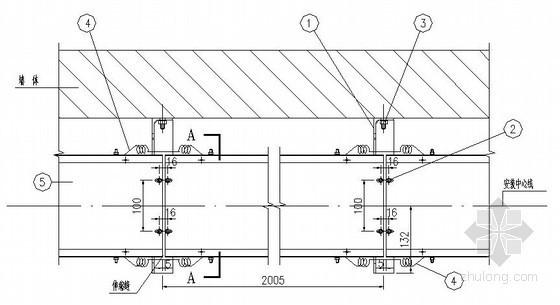 电缆桥架垂直段墙上安装大样图