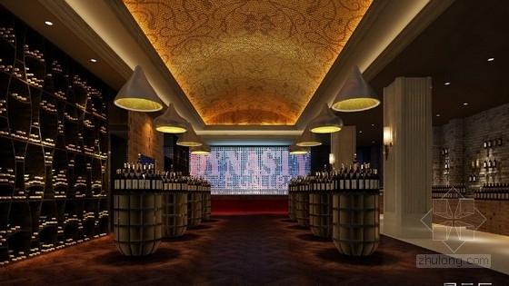 [天津]中外合资企业高档典雅红酒展厅设计方案图展示厅效果图