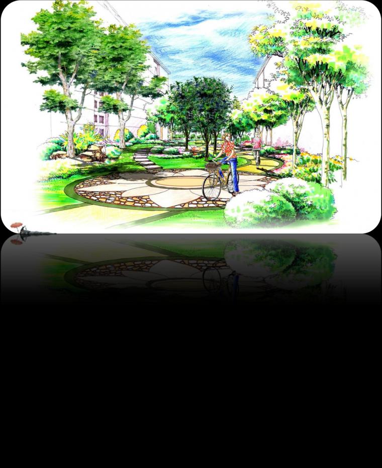 图片1住宅区里的公园-小区园林手绘第1张图片