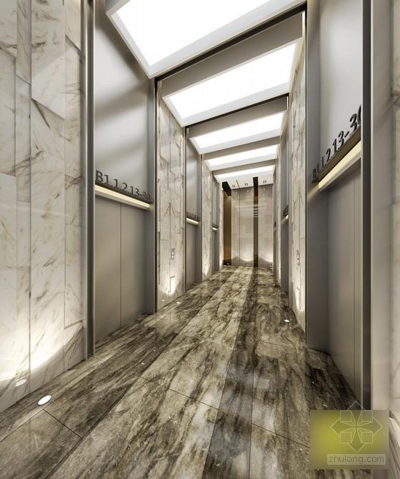 [江苏]国际综合性投资集团塔楼办公楼公共空间设计施工图(含效果)办公电梯间效果图
