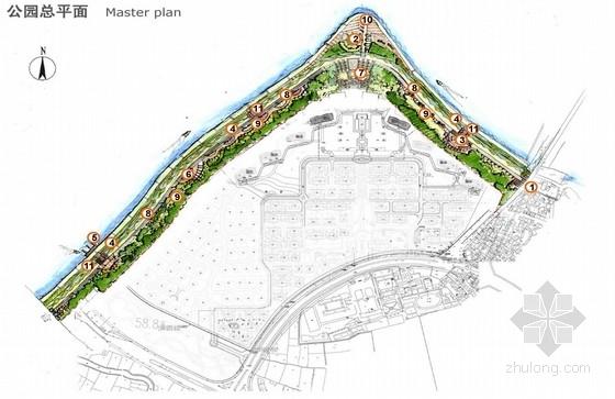 [浙江]休闲观景滨江公园景观规划设计方案-总平面图