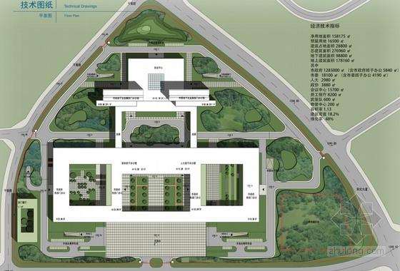 [四川]现代风格高层市区行政办公建筑设计方案文本-现代风格高层市区行政办公建筑总平面图