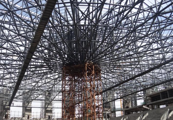 大跨钢桁架支撑胎架卸载施工工法